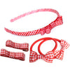 School Hair Accessories Gift Set In Gingham Ribbon