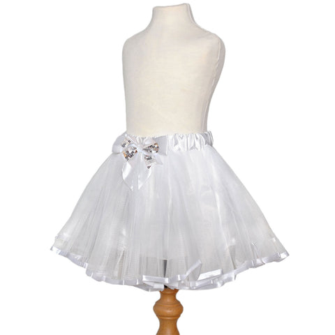 White Angel Satin Tutu with Satin Hair Bow