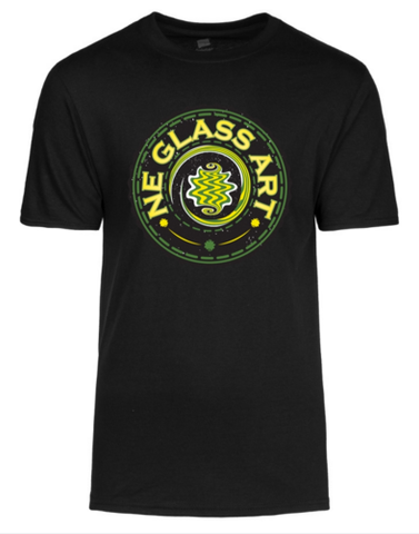 Black T-Shirt w/ NE GLASS ART logo