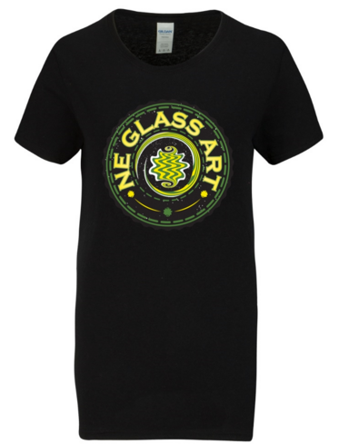 Womens Black T-Shirt w/ NE GlASS ART logo