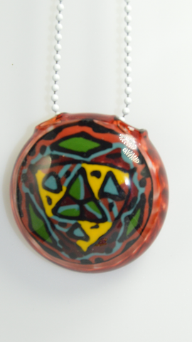 Disc Flip Stringer Pendant By AG Glass