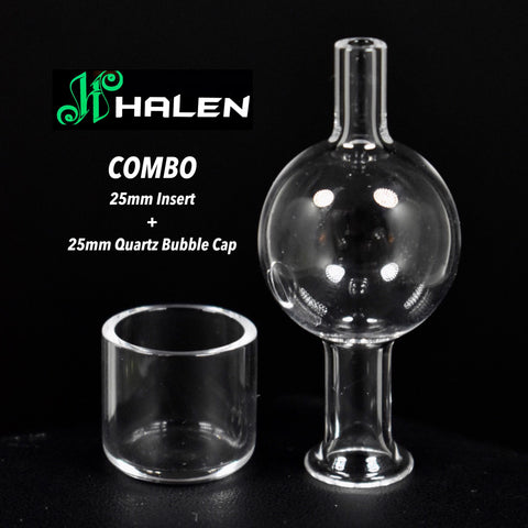 COMBO 25mm Quartz Bubble Cap and Insert by Halen