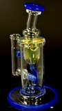 "7"" Internal Recycler by Monty (Fluid Glass) 14mm Blue Cheese"