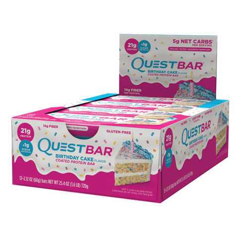 Quest Protein Bar Birthday Cake (12x60g) - Musclehouse.dk