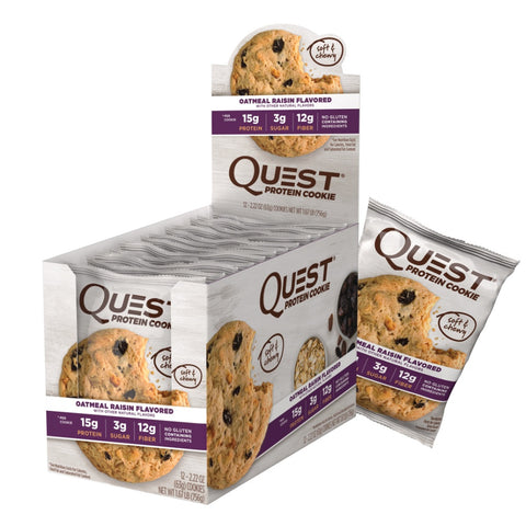 Kosttilskud - Quest Protein Cookie - Oatmeal Raisin (12x63g)