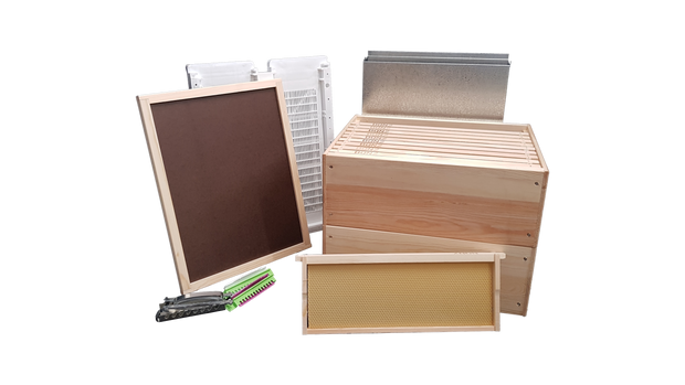 3/4 Depth Wooden Beehive Package with Wooden frames.