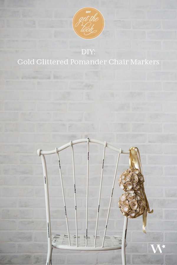 DIY Wedding: Gold Glittered Pomander Chair Markers