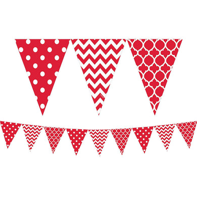 Apple Red Patterned Pennant Banner