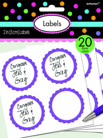New Purple Scalloped Labels