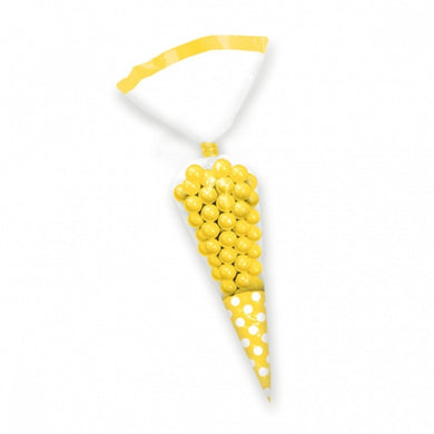 Sunshine Yellow Polka Dot Cello Cone Shaped Treat Bags