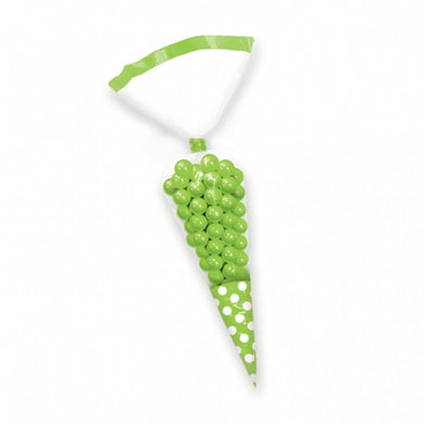 Kiwi Green Polka Dot Cello Cone Shaped Treat Bags