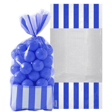 Bright Royal Blue Striped Cello Favour Bags