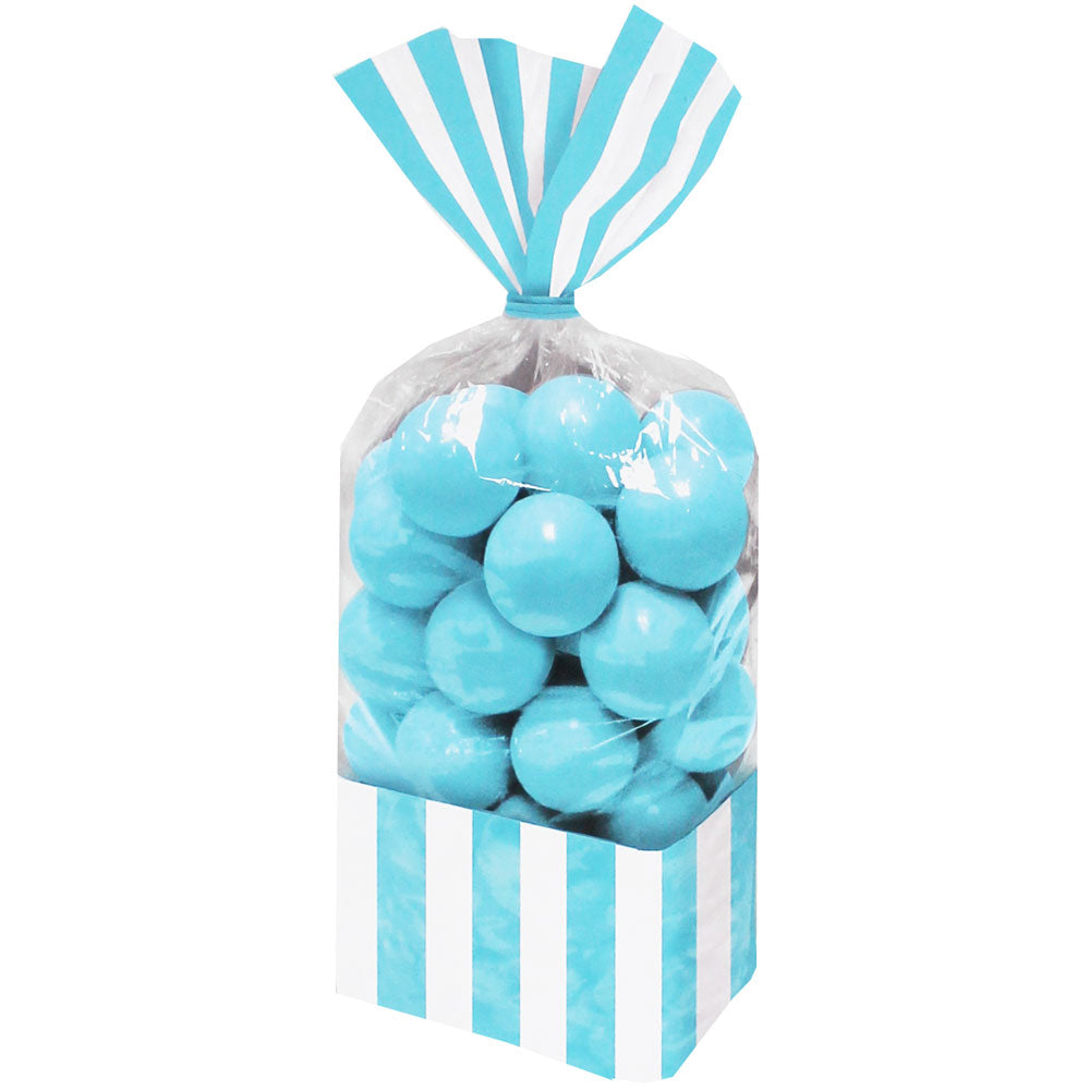 Caribbean Blue Striped Cello Favour Bags