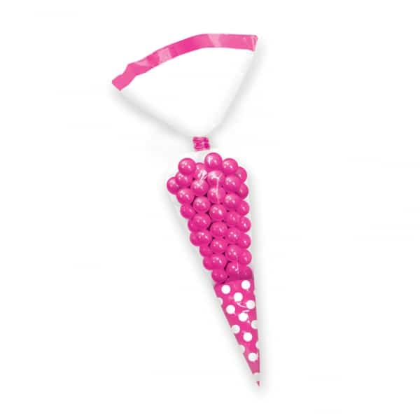 Bright Pink Polka Dot Cello Cone Shaped Treat Bags