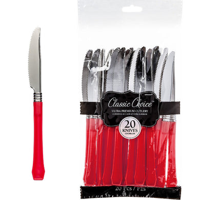 Apple Red Premium Classic Choice Plastic Knives