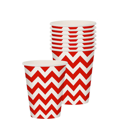 Red Chevron Paper Party Cups