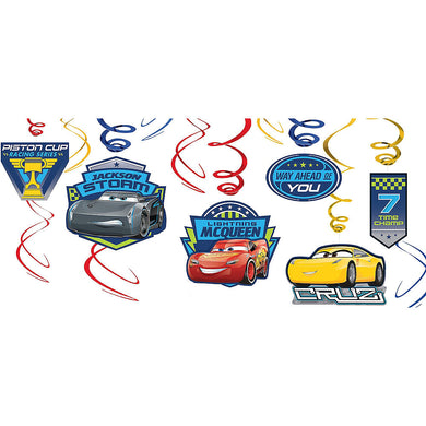 Cars Lightning McQueen Hanging Swirl Decorations
