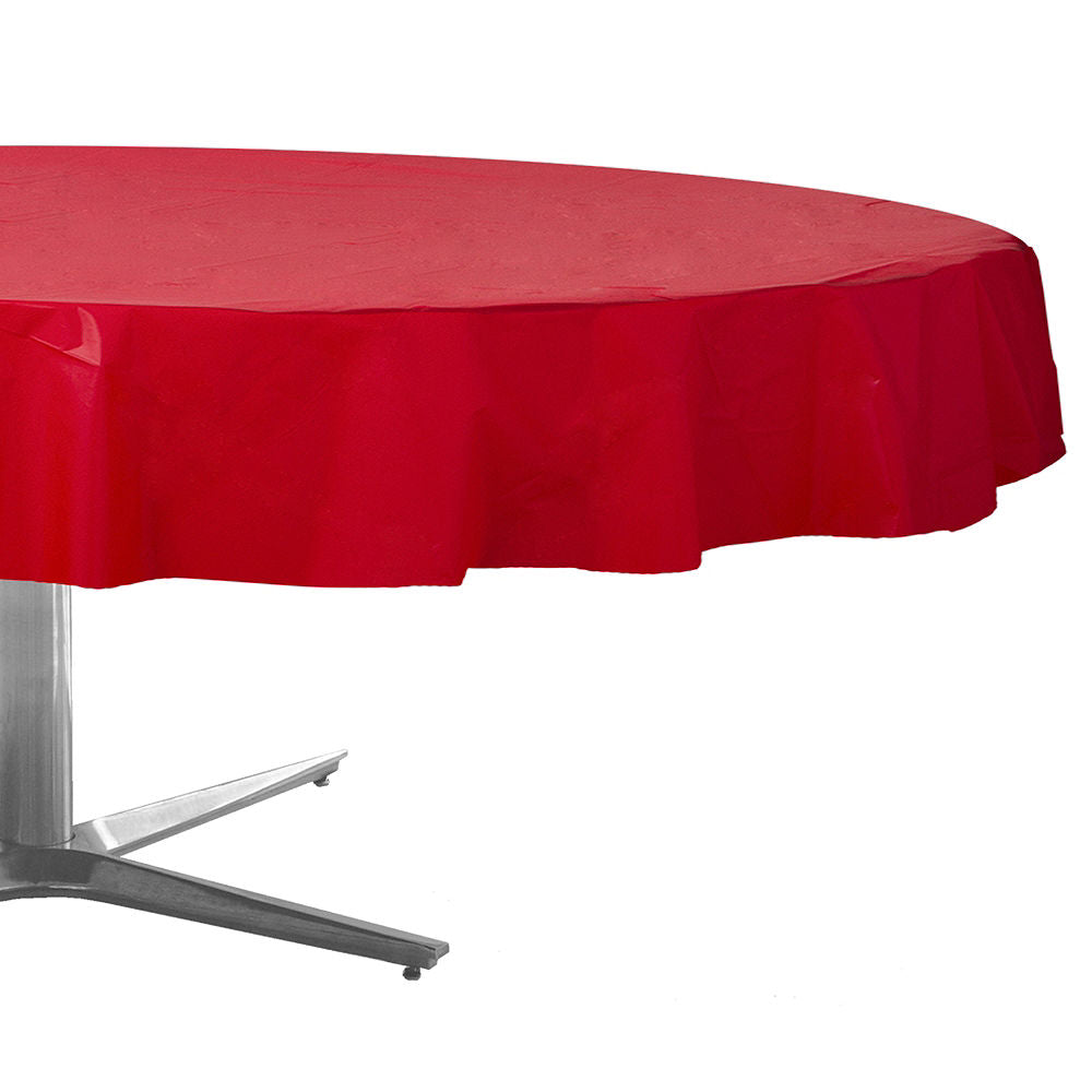 Apple Red Plastic Round Table Cover