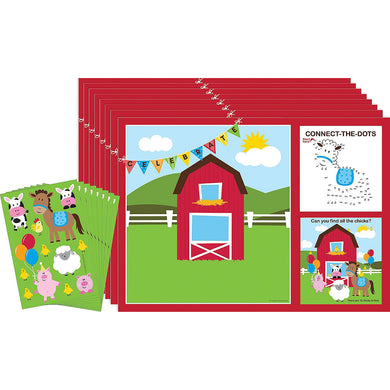 Farmhouse Fun Placemats with Activity Stickers