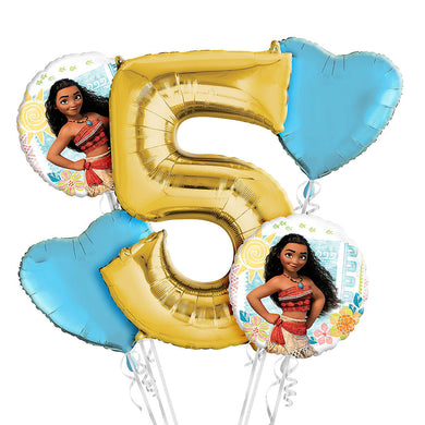 Moana 5th Birthday Balloon Bouquet