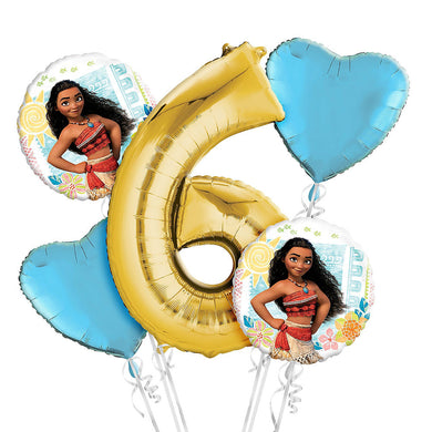 Moana 6th Birthday Balloon Bouquet