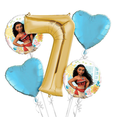 Moana 7th Birthday Balloon Bouquet