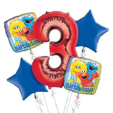 Sesame Street 3rd Birthday Balloon Bouquet