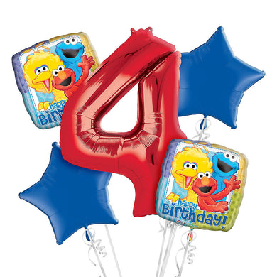 Sesame Street 4th Birthday Balloon Bouquet