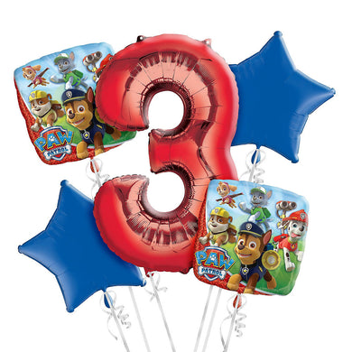 Paw Patrol 3rd Birthday Foil Balloon Bouquet