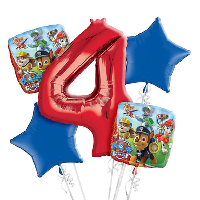 Paw Patrol 4th Birthday Foil Balloon Bouquet
