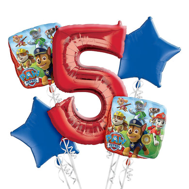 Paw Patrol 5th Birthday Foil Balloon Bouquet