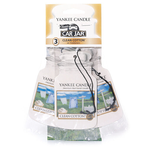 Yankee Candle Clean Cotton Car Jar Classic 3 pack Luchtverfrisser