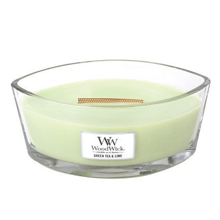Green Tea & Lime Ellipse WoodWick HeartWick Candle