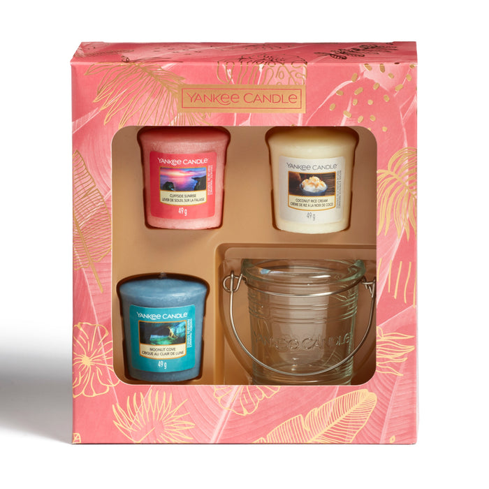 Yankee Candle The Last Paradise 3 Votive & 1 Holder Giftset