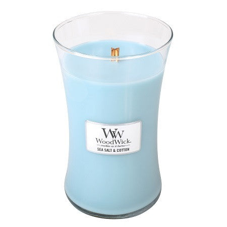 WoodWick Sea Salt & Cotton Large Geurkaars