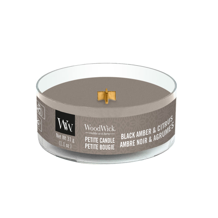 Woodwick Black Amber & Citrus Petite Candle