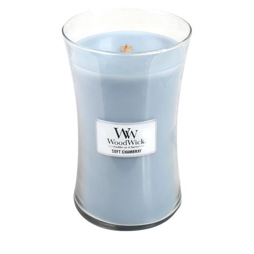 WoodWick Soft Chambray Large Geurkaars