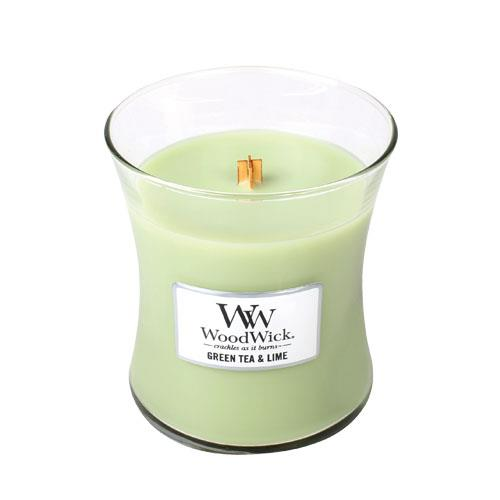 WoodWick Green Tea & Lime Medium Geurkaars