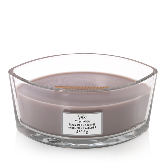 WoodWick Black Amber & Citrus Ellipse Candle