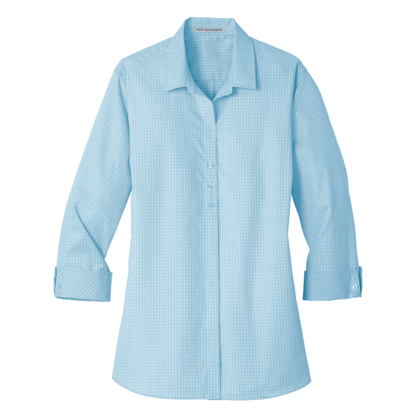 D1819W Ladies 3/4-Sleeve Micro Tattersall Easy Care Shirt