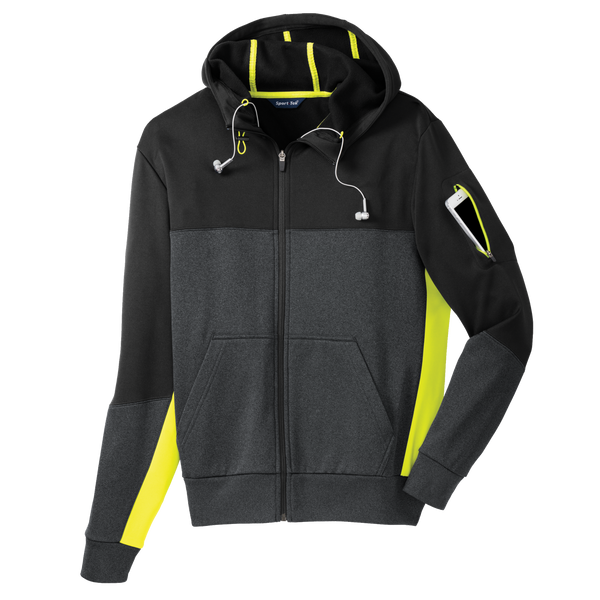 D1550 Mens Fleece Colorblock Full-Zip Hooded Jacket