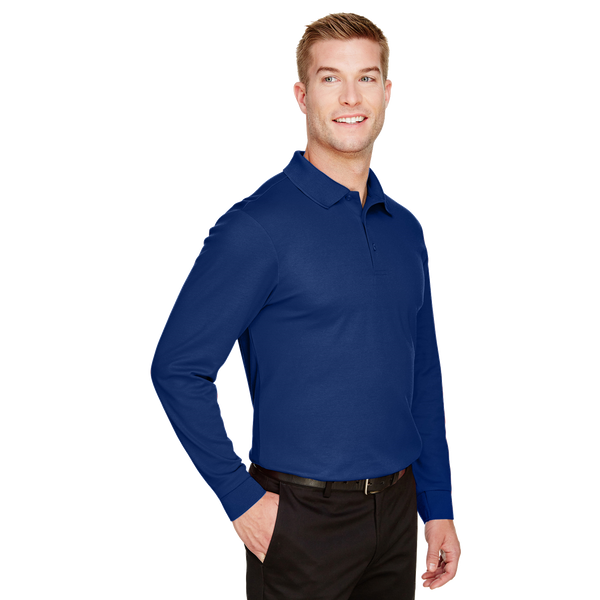 D2030M Mens Plaited Long Sleeve Polo