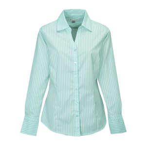 D1952 Ladies Taylor Striped Open Neck Dress Shirt