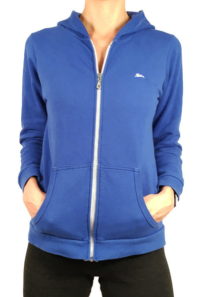 Ladies Sweatshirt Zipped Hoodie Blue