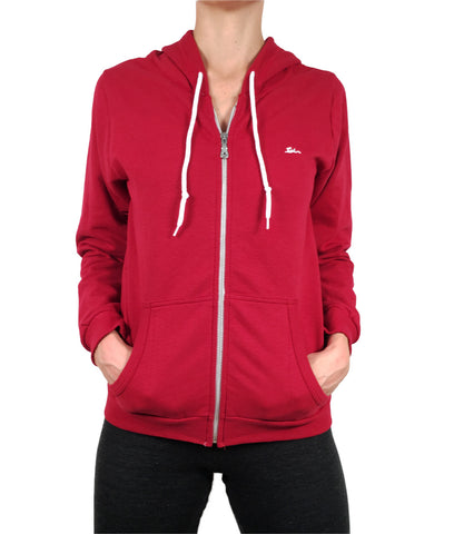 Ladies Sweatshirt Zipped Hoodie Red