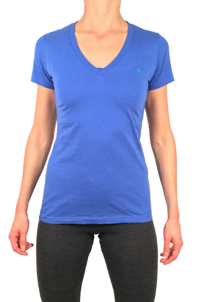 Ladies V Neck T-Shirt Blue