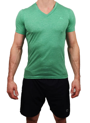 Mens Triblend V Neck T-Shirt Green