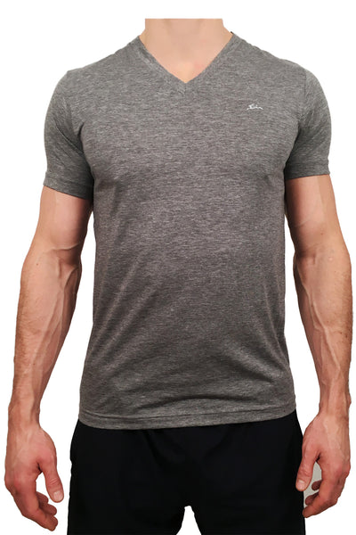 Mens Triblend V Neck T-Shirt Grey