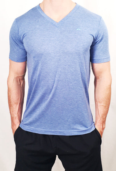Mens Triblend V Neck T-Shirt Light Blue