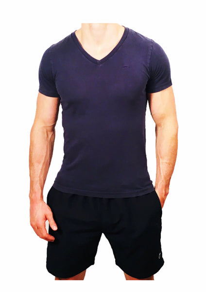 Mens V Neck T-Shirt Navy Blue